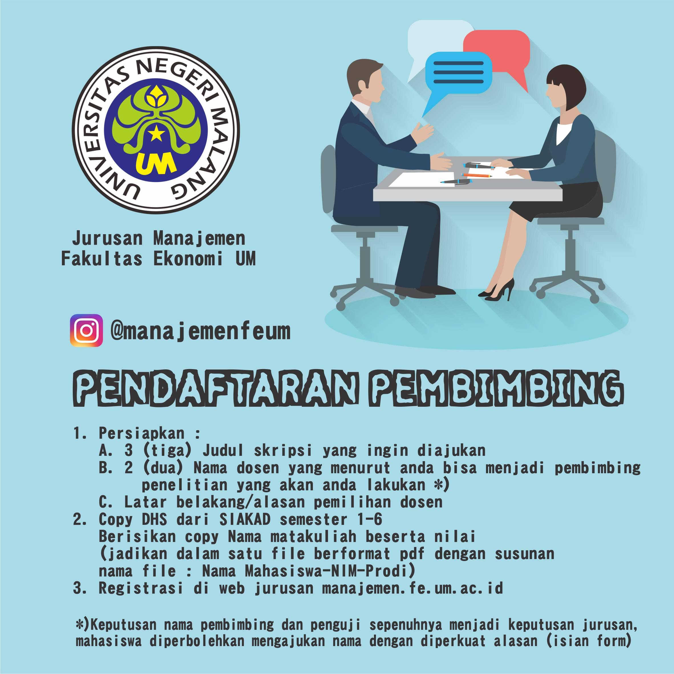 Pendaftaran Pembimbing Skripsi Jurusan Manajemen