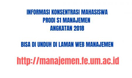 Informasi Konsentrasi Mahasiswa Prodi S1 Manajemen Angkatan 2018