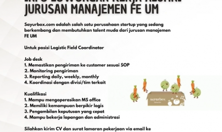 Informasi Lowongan Kerja di Startup sayurbox.com